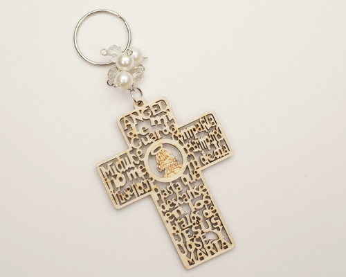 White Pearl Wooden Cross Girl Baptism Keychain - Pack of 12