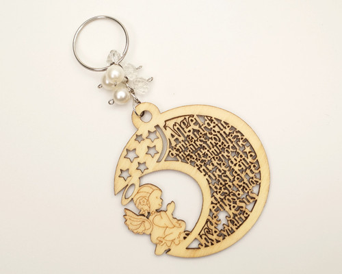 White Pearl Wooden Half Moon Girl Baptism Keychain - Pack of 12