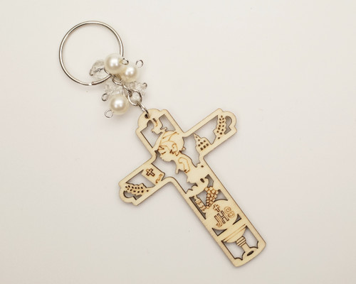 White Pearl Wooden Cross Boy's First Communion JHS Keychain - Pack of 12