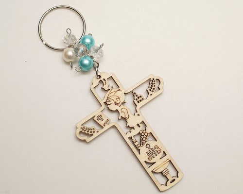 Blue Pearl Wooden Cross Boy's First Communion JHS Keychain - Pack of 12