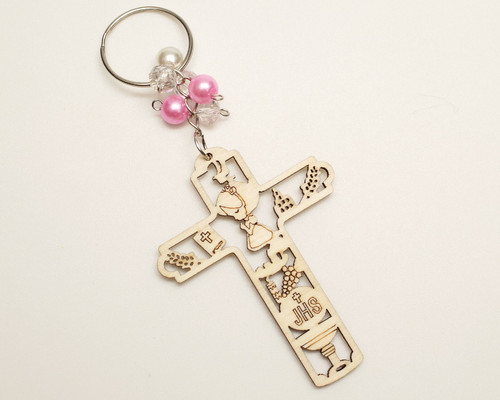 Pink Pearl Wooden Cross Girl's First Communion JHS Keychain - Pack of 12
