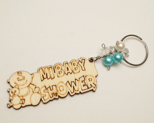 Blue Pearl Wooden Mi Baby Shower Boy Keychain - Pack of 12