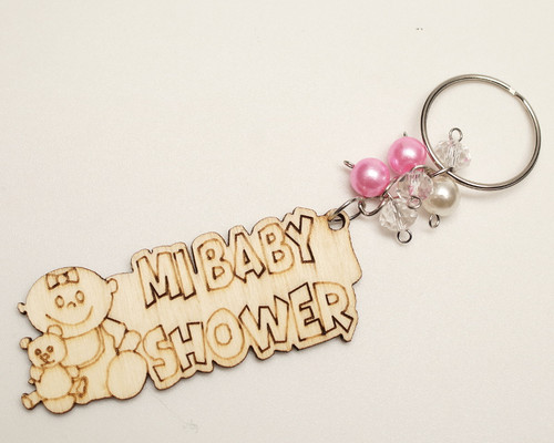 Pink Pearl Wooden Mi Baby Shower Girl Keychain - Pack of 12