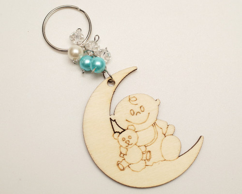 Blue Pearl Round Wooden Carved Baby Shower Boy Keychain - Pack of 12