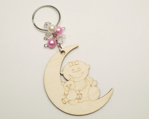 Pink Pearl Round Wooden Carved Baby Shower Girl Keychain - Pack of 12