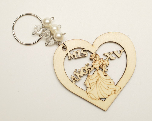 White Pearl Round Wooden Quinceanera Keychain - Pack of 12