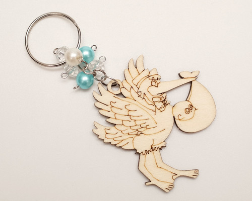 Blue Pearl Wooden Carved Baby Shower Stork Boy Keychain - Pack of 12