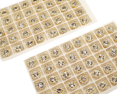 11mm Gold Metal Rhinestone Flat Back Buttons - Pack of 200 Pieces