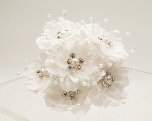 "1 3/4"" White Silk Organza Flower with Rhinestones -  Pack of 72"