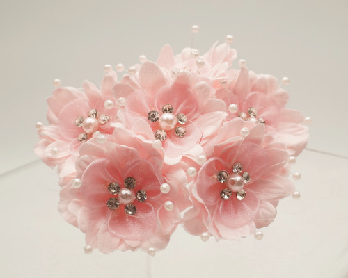 "1 3/4"" Pink Silk Organza Flower with Rhinestones -  Pack of 72"