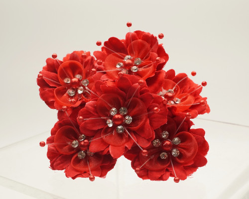 "1 3/4"" Red Silk Organza Flower with Rhinestones -  Pack of 72"