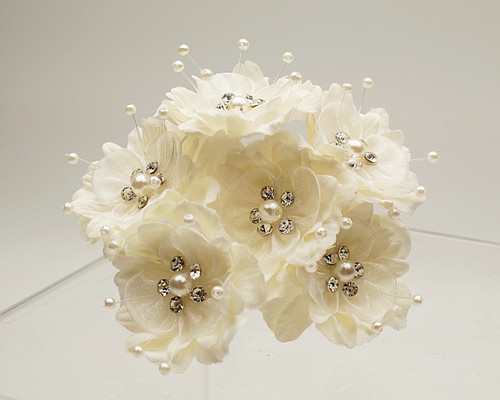 "1 3/4"" Ivory Silk Organza Flower with Rhinestones -  Pack of 72"