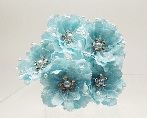 "1 3/4"" Blue Silk Organza Flower with Rhinestones -  Pack of 72"