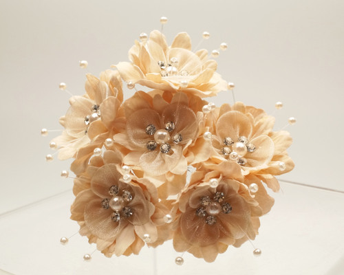 "1 3/4"" Tan Silk Organza Flower with Rhinestones -  Pack of 72"