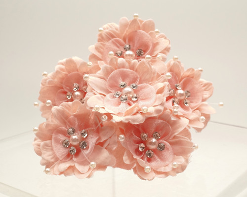 "1 3/4"" Blush Silk Organza Flower with Rhinestones -  Pack of 72"