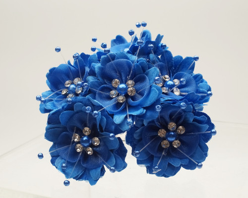 "1 3/4"" Royal Blue Silk Organza Flower with Rhinestones -  Pack of 72"