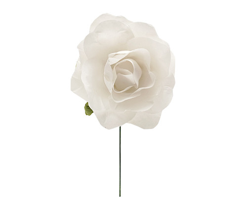 "2"" White Big Rose Paper Craft Flowers - Pack of 12"