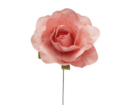 "2"" Blush Big Rose Paper Craft Flowers - Pack of 12"