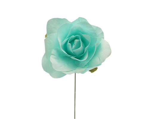 "2"" Aqua Big Rose Paper Craft Flowers - Pack of 12"