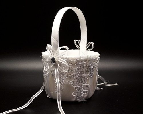 White Lace Wedding Flower Girl Basket with Silver Sequin Lace