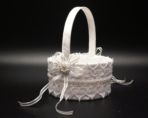 White Lace Wedding Flower Girl Basket with Faux Pearl