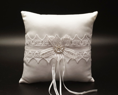 White Lace Wedding Ring Bearer Pillow with Faux Pearl