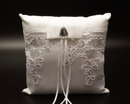 White Lace Wedding Ring Bearer Pillow with Silver Sequin Lace