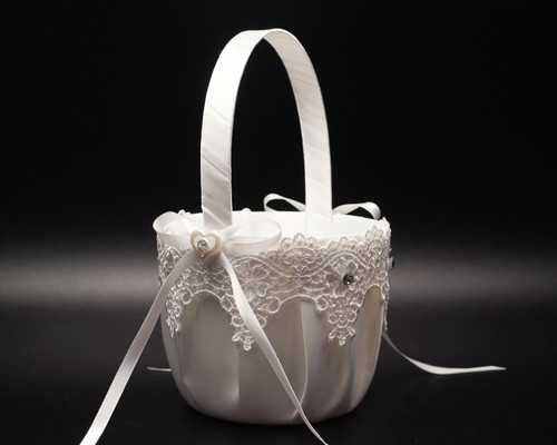 White Venise Lace Wedding Flower Girl Basket