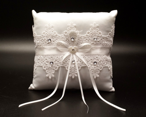 White Venise Lace Wedding Ring Bearer Pillow with Rhinestone
