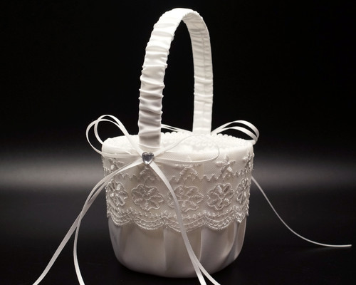 White Organza Lace Wedding Flower Girl Basket