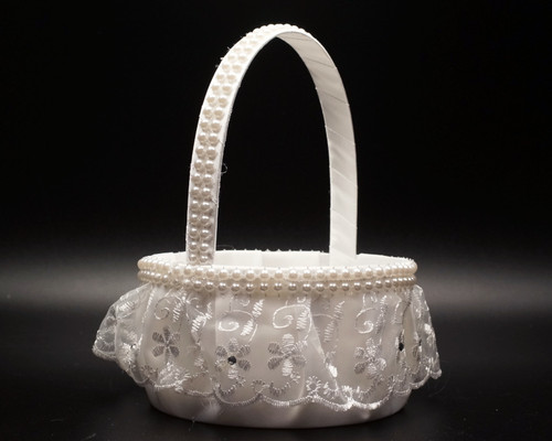 White Organza Ruffle Lace Wedding Flower Girl Basket with Faux Pearl