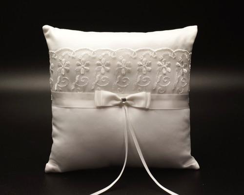 White Organza Flower Lace Wedding Ring Bearer Pillow