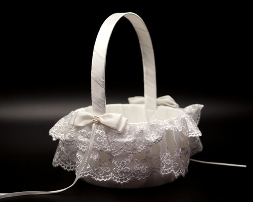 White Organza Double Ruffle Lace Wedding Flower Girl Basket