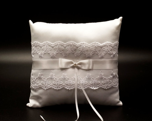 White Organza Lace Wedding Ring Bearer Pillow with Satin Bow