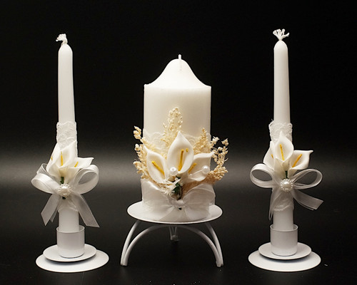 White Unity Candle and Tapers Wedding Ceremony Calla Lily Set