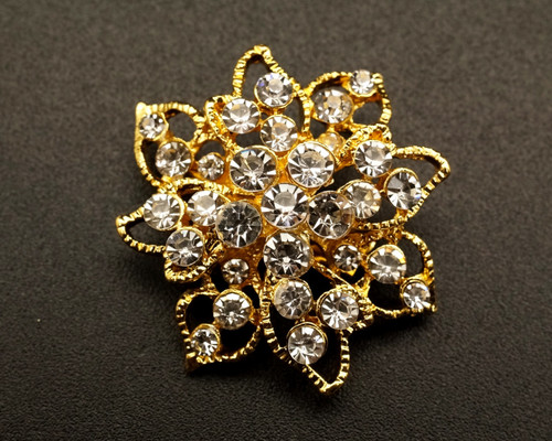 "1 1/4"" Gold Floral Fashion Brooch Pin - Pack of 12 (BHB047)"