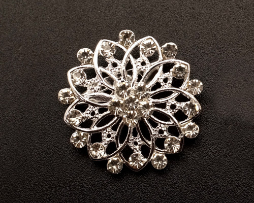 """1 1/4"""" Silver Round Fashion Brooch Pin - Pack of 12 (BHB037)"""