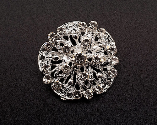 """1 1/4"""" Silver Round Fashion Brooch Pin - Pack of 12 (BHB046)"""