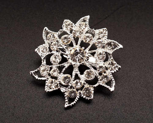 "1 1/2"" Silver Floral Round Fashion Brooch Pin - Pack of 12 (BHB045)"