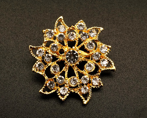"1 1/2"" Gold Floral Round Fashion Brooch Pin - Pack of 12 (BHB045)"
