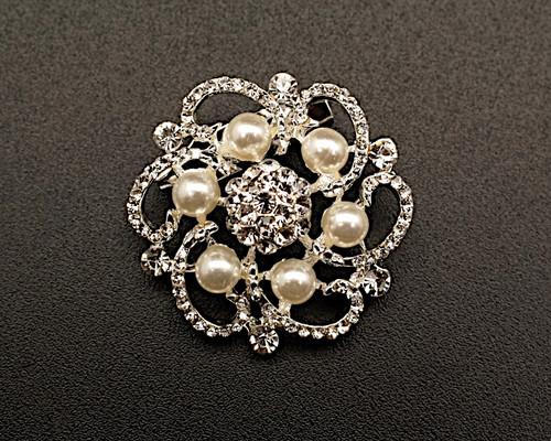 "1 1/4"" Silver Pearl Rhinestone Fashion Brooch Pin - Pack of 12 (BHB034)"