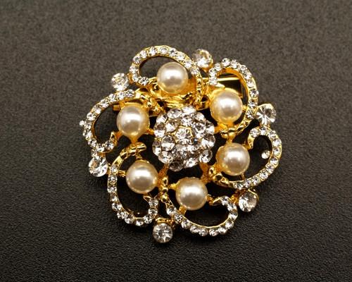 "1 1/4"" Gold Pearl Rhinestone Fashion Brooch Pin - Pack of 12 (BHB034)"