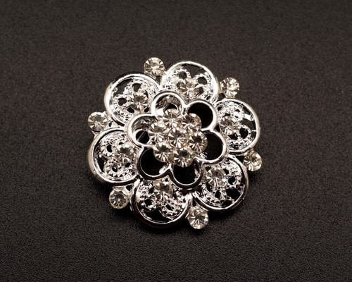"1 1/4"" Silver Round Rhinestone Fashion Brooch Pin - Pack of 12 (BHB038)"