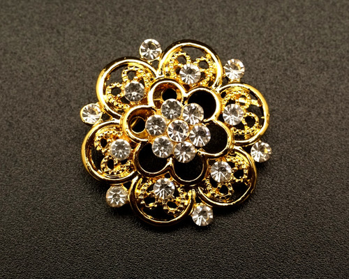 "1 1/4"" Gold Round Rhinestone Fashion Brooch Pin - Pack of 12 (BHB038)"