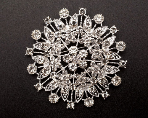 "2 3/4"" Silver Round Rhinestone Fashion Brooch Pin - Pack of 12 (BHF007)"