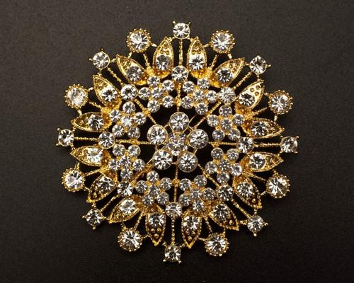 "2 3/4"" Gold Round Rhinestone Fashion Brooch Pin - Pack of 12 (BHF007)"