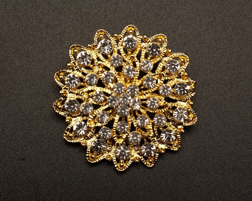 "1 1/2"" Gold Round Rhinestone Fashion Brooch Pin - Pack of 12 (BHB032)"