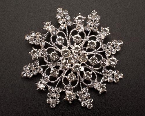 """2 3/4"""" Silver Snowflake Rhinestone Fashion Brooch Pin - Pack of 12 (NHH004)"""