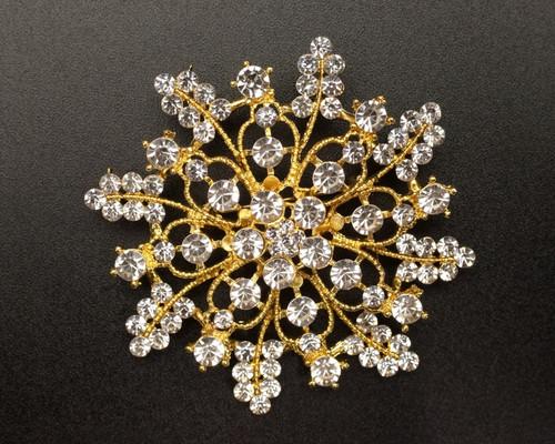 "2 3/4"" Gold Snowflake Rhinestone Fashion Brooch Pin - Pack of 12 (NHH004)"