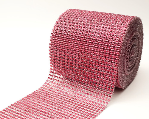 "4.5"" x 10 yards 24 Rows Burgundy Diamond Mesh Wrap"